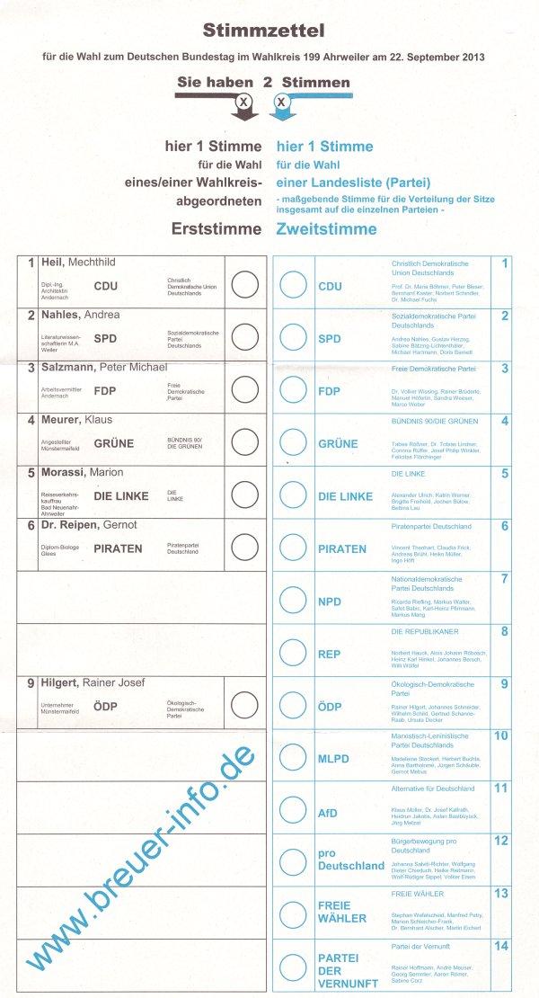 Stimmzettel für die Wahl zum Deutschen Bundestag im Wahlkreis 199 Ahrweiler am 22. September 2013