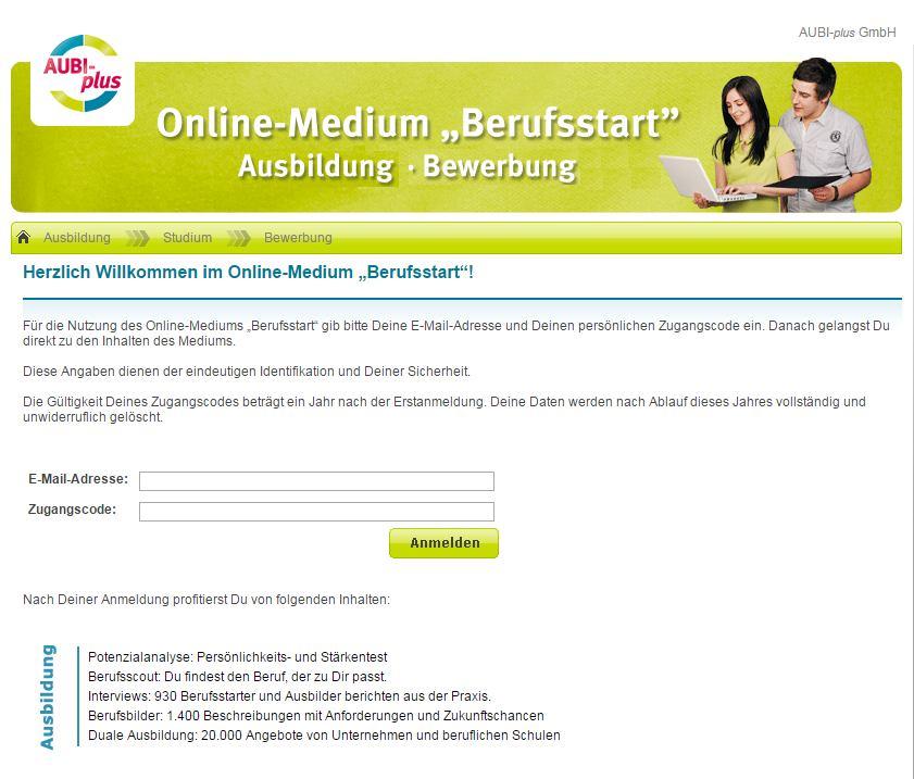 """Online-Medium """"Berufsstart"""""""