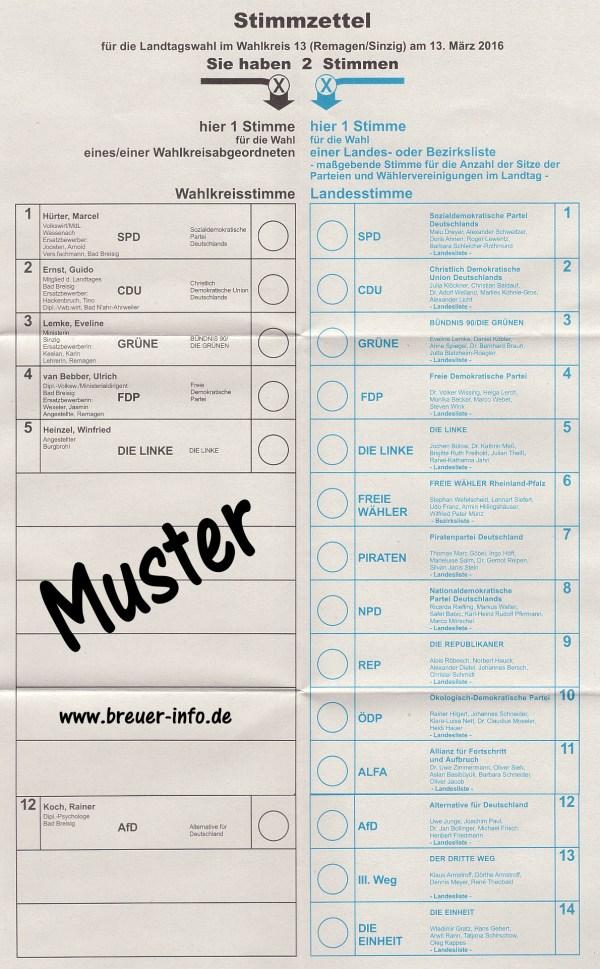 Landtagswahl Rheinland-Pfalz 2016 – Stimmzettel