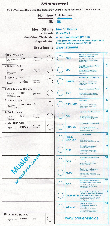 Stimmzettel für die Wahl zum Deutschen Bundestag im Wahlkreis 199