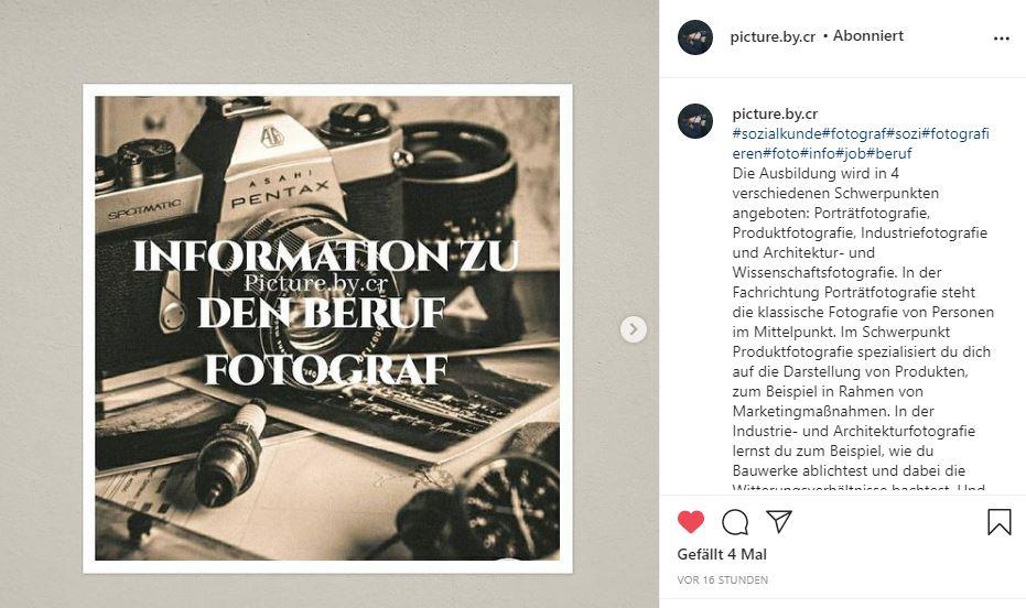 Hier ein Beispiel einer Achtklässlerin, wie man seinen Wunschberuf für das Praktikum im Herbst kreativ vorstellen kann. Mit diesem Instagram-Account könnte sie sich direkt bewerben... Prima!